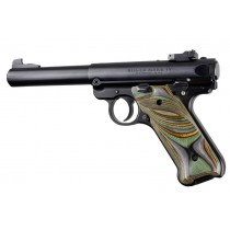 Ruger MK IV: Smooth Hardwood Grip with Right Hand Thumb Rest - Lamo Camo Laminate