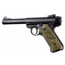 Ruger MK IV: Checkered Hardwood Grip with Right Hand Thumb Rest - Lamo Camo Laminate