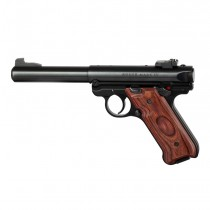 Ruger MK IV: Smooth Hardwood Grip with Palm Swells - Rosewood Laminate