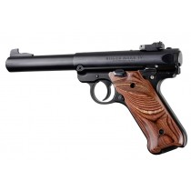 Ruger MK IV: Smooth Hardwood Grip with Right Hand Thumb Rest - Rosewood Laminate