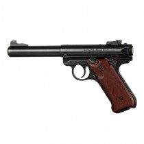 Ruger MK IV: Checkered Hardwood Grip with Palm Swells - Cocobolo