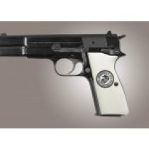 Browning Hi-Power Engraved Ivory Polymer - Marines Eagle Globe and Anchor