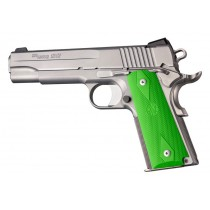 1911 Govt. Model: Checkered Rubber Grip Panels with Diamonds - Zombie Green