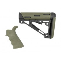 AR-15 / M16 Kit: OverMolded Beavertail Grip & Collapsible Buttstock (Fits Mil-Spec Buffer Tube) - OD Green