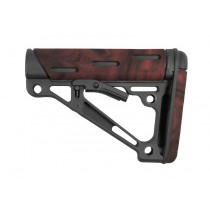 AR-15 / M-16: OverMolded Collapsible Buttstock Assembly (Fits Mil-Spec Buffer Tube) - Red Lava
