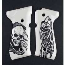 Beretta 92 Scrimshaw Ivory Polymer - Grim Reaper
