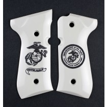 Beretta 92 Scrimshaw Ivory Polymer - Marines Eagle Globe and Anchor