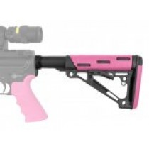 AR-15/M-16 OverMolded Collapsible Buttstock Assembly - Includes Mil-Spec Buffer Tube and Hardware - Pink Rubber