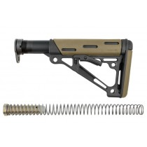 AR-15 / M16: OverMolded Collapsible Buttstock Assembly (Includes Mil-Spec Buffer Tube & Hardware) - FDE