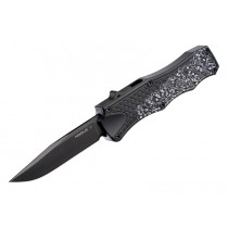 "Out The Front 3.5"" Automatic Clip Point Blade Black Finish Aluminum Frame - Black Boneyard"