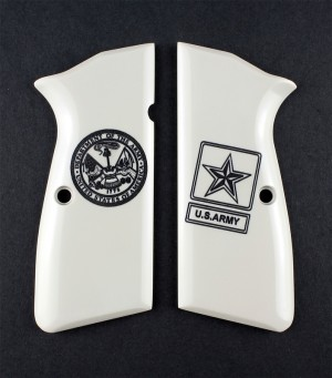 Browning Hi-Power Engraved Ivory Polymer - Army insignia