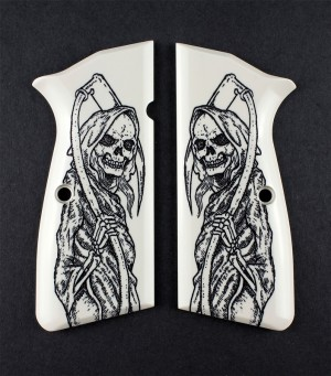 Browning Hi-Power Scrimshaw Ivory Polymer - Grim Reaper Full-Body X2