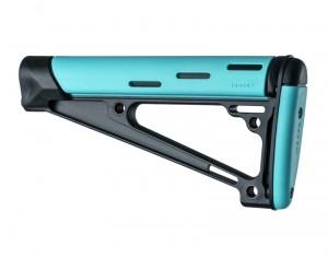 AR-15 / M16: OverMolded Fixed Buttstock (Fits A2 Buffer Tube) - Aqua