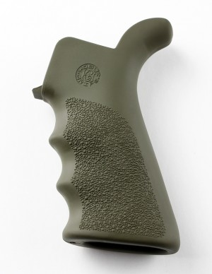 AR-15/M-16 Rubber Grip Beavertail with Finger Grooves OD Green