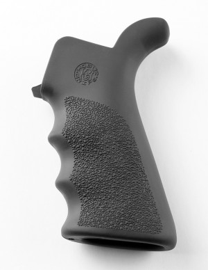 AR-15 / M16: OverMolded Rubber Beavertail Grip with Finger Grooves - Slate Grey