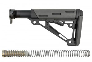 AR-15 / M16: OverMolded Collapsible Buttstock Assembly (Includes Mil-Spec Buffer Tube & Hardware) - Slate Grey