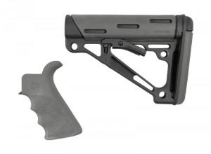 AR-15 / M16 Kit: OverMolded Beavertail Grip & Collapsible Buttstock (Fits Mil-Spec Buffer Tube) - Slate Grey