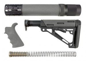 AR-15 / M16 Kit: OverMolded Beavertail Grip, Rifle Length Forend with Accessories, Collapsible Buttstock (Includes Mil-Spec Buffer Tube & Hardware) - Slate Grey