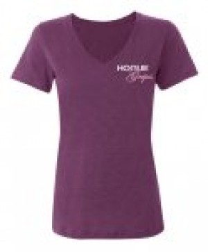 Hogue Grips Women V-Neck T-Shirt X-Large Purple