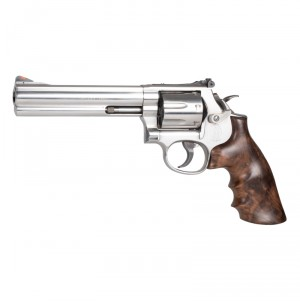 S&W K/L-Frame Round Butt Conversion: Smooth Hardwood Grip with Finger Grooves - Walnut Burl