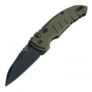 "A01-MicroSwitch Automatic Folder (Kroll Exclusive): 2.75"" Wharncliffe Blade - Black Cerakote Finish, Matte OD Green Aluminum Frame"