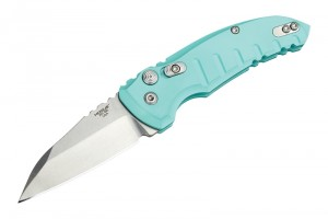 "A01-Microswitch Folder: 2.75"" Tumbled Wharncliffe Blade, Matte Aquamarine Aluminum Frame"