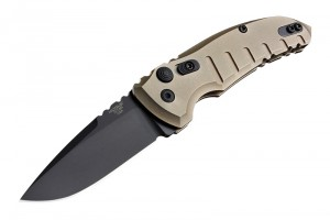 "A01-Microswitch Folder: 2.75"" Black Cerakote Drop Point Blade, Matte FDE Aluminum Frame"