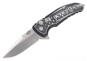 "X1-Microflip 2.75"" Folder Drop Point Blade Tumble Finish Alum Frame - Custom Outlaw Ordnance I Stand Engraving"