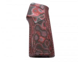 AR15 / M16 15 Degree Vertical No Finger Groove Piranha Grip G10 - G-Mascus Red Lava