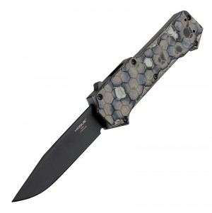 """Compound OTF Automatic (MGE Exclusive): 3.5"""" Clip Point Blade - Black PVD Finish, G-Mascus Dark Earth G10 Frame"""