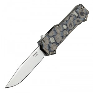 "Compound Out The Front Automatic: 3.5"" Clip Point Blade - Tumbled Finish, G-Mascus Dark Earth G10 Frame"