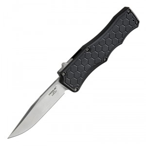 "Exploit OTF Automatic: 3.5"" Clip Point Blade - Tumbled Finish, Matte Black Aluminum Frame"