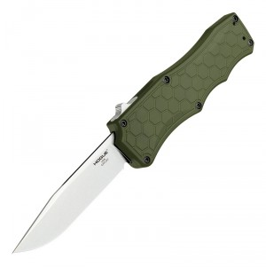 """Exploit OTF Automatic (MGE Exclusive): 3.5"""" Clip Point Blade - Tumbled Finish, Matte OD Green Aluminum Frame"""