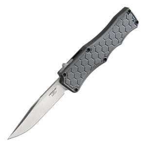 "Exploit OTF Automatic: 3.5"" Clip Point Blade - Tumbled Finish, Matte Grey Aluminum Frame"