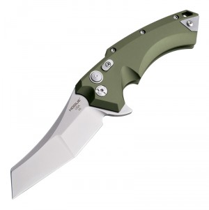 "X5 Flipper: 4.0"" Wharncliffe Blade - Tumbled Finish, OD Green Aluminum Frame"