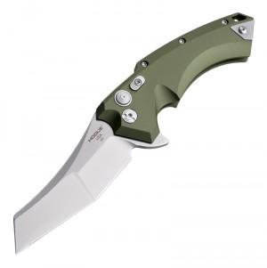 "X5 Flipper: 3.5"" Wharncliffe Blade - Tumbled Finish, OD Green Aluminum Frame"