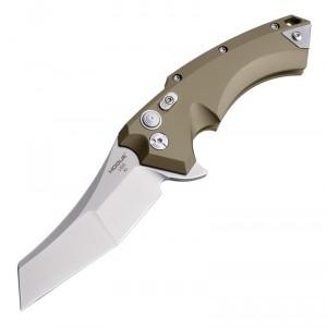 "X5 Flipper: 3.5"" Wharncliffe Blade - Tumbled Finish, FDE Aluminum Frame"