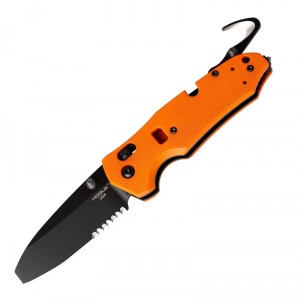 "Trauma First Response Tool: 3.4"" Opposing Bevel Blade (Partially Serrated) - Black Cerakote Finish, Orange G10 Frame"