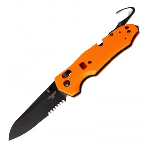 "Trauma First Response Tool: 3.4"" Sheepsfoot Blade (Partially Serrated) - Black Cerakote Finish, Orange G10 Frame"