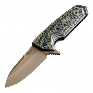 "SIG EX-02 Scorpion Manual Flipper: 3.75"" Spear Point Blade - FDE PVD Finish, G-Mascus Green G10 Scales"