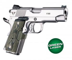 Green Laser Enhanced Grip for 1911 Officers Model: Piranha G10 - G-Mascus Green
