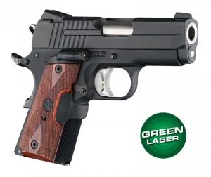Green Laser Enhanced Grip for 1911 Officers Model: Checkered Reinforced Hardwood - Rosewood