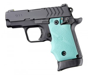 Springfield Armory 911 .380: Cobblestone Rubber Grip with Finger Grooves (Ambi Safety) - Aqua