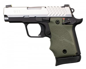 Springfield Armory 911 9mm: Cobblestone Rubber Grip with Finger Grooves (Ambi Safety) - OD Green