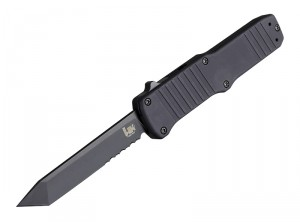 "HK Hadron 3.375"" Out the Front Automatic: Black PVD Tanto Blade (Partially Serrated), Matte Black Aluminum Frame"