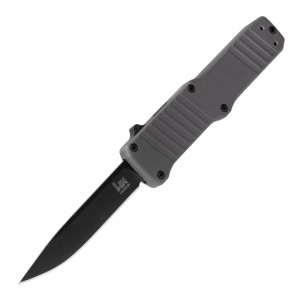 "HK Hadron OTF Automatic: 3.375"" Clip Point Blade - Black PVD Finish, Matte Grey Aluminum Frame"