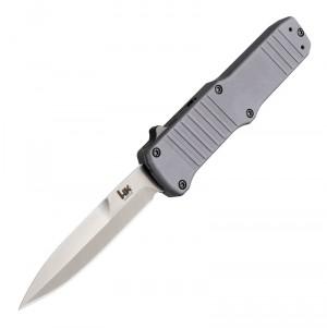 """HK Hadron OTF Automatic: 3.375"""" Bayonet Blade - Tumbled Finish, Matte Grey Aluminum Frame"""