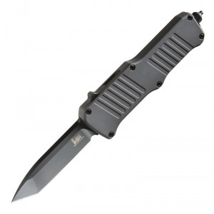 "HK Mini Incursion Out The Front Automatic: 2.95"" Tanto Blade - Black PVD Finish, Matte Grey Aluminum Frame"