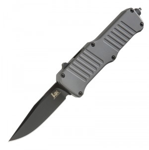 "HK Mini Incursion Out The Front Automatic: 2.95"" Clip Point Blade - Black PVD Finish, Matte Grey Aluminum Frame"