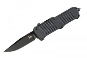 "HK Mini Incursion Out the Front Automatic: 2.95"" Clip Point Blade - Black PVD Finish, Matte Black Aluminum Frame"